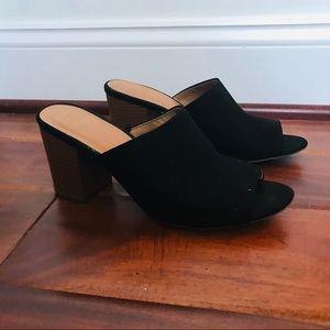 Gap suede mule wooden heels